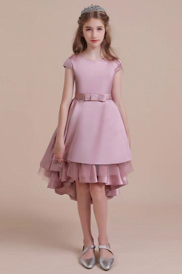 BMbridal A-Line Cap Sleeve Satin High-low Flower Girl Dress Online_1