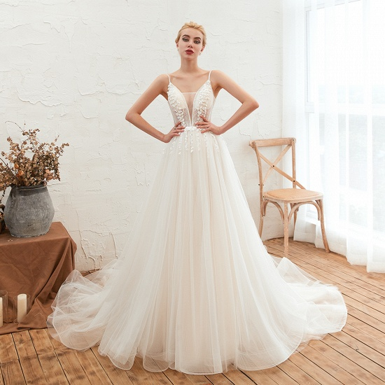 Chic Spaghetti Straps V-Neck Ivory Tulle Wedding Dresses with Appliques_4