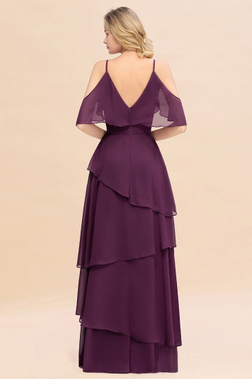 BMbridal Chic Cold-Shoulder Layers Grape Chiffon Bridesmaid Dress Affordable_3