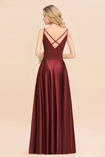 Chic Spaghetti-Straps Burgundy Satin Long Bridesmaid Dress Online_3