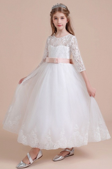 BMbridal A-Line Illusion Lace Tulle Ankle Length Flower Girl Dress On Sale_9