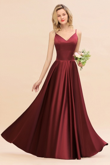 Chic Satin Spaghetti-Straps Burgundy Long Bridesmaid Dress