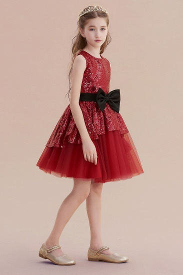 BMbridal A-Line Bows Sequins Tulle Flower Girl Dress On Sale_5