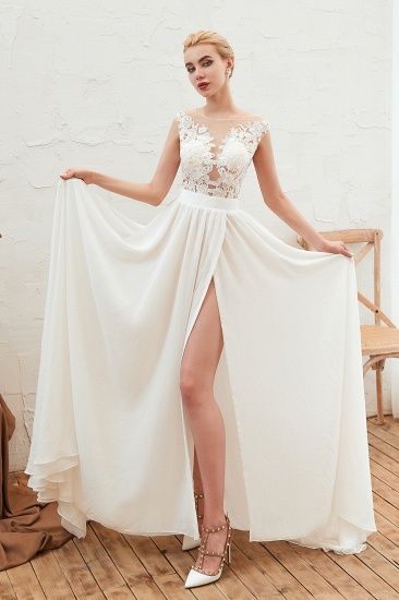 Sexy Jewel Appliques Long Ivory Affordable Wedding Dress with Front Slit_5