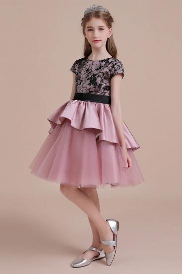 BMbridal A-Line Cap Sleeve Lace Tulle Knee Length Flower Girl Dress On Sale_6