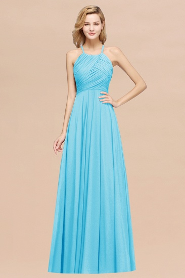 Halter Crisscross Pleated Bridesmaid Dress Blue Chiffon Sleeveless Maid of Honor Dress_24