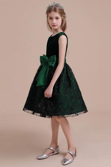 BMbridal A-Line Lace Velvet Knee Length Flower Girl Dress Online_4