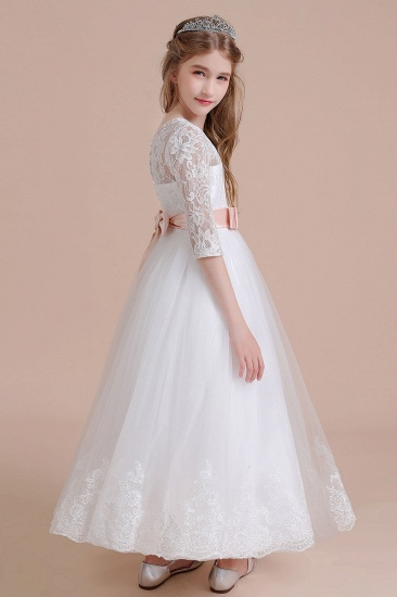 BMbridal A-Line Illusion Lace Tulle Ankle Length Flower Girl Dress On Sale_5
