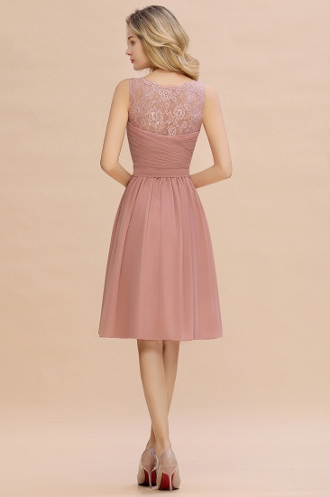 Affordable V-Neck Sleeveless Ruffles Short Lace Bridesmaid dresses Online_3