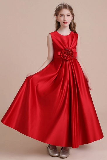 BMbridal A-Line Chic Satin Ankle Length Flower Girl Dress Online_6