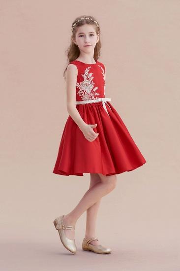BMbridal A-Line Affordable Appliques Satin Flower Girl Dress Online_7