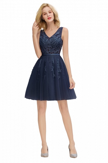 Elegant V-Neck Sleeveless Short Prom Dress Mini Homecoming Dress With Lace Appliques_24