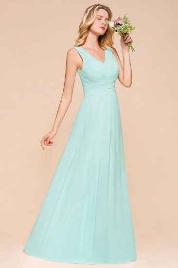 Chic V-Neck Sleeveless Mint Green Bridesmaid Dresses with Ruffle_8