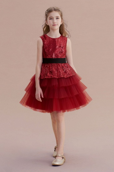 BMbridal A-Line Tulle Sequins Knee Length Flower Girl Dress Online_1