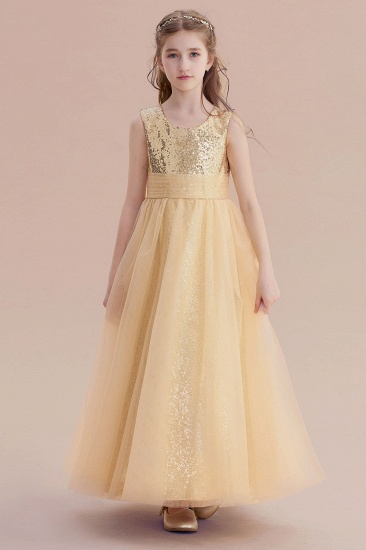 BMbridal A-Line Awesome Sequins Tulle Flower Girl Dress Online_4