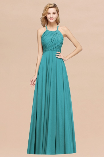 Halter Crisscross Pleated Bridesmaid Dress Blue Chiffon Sleeveless Maid of Honor Dress_32
