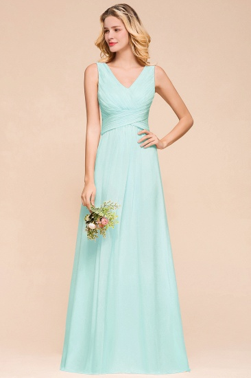 Chic V-Neck Sleeveless Mint Green Bridesmaid Dresses with Ruffle_9