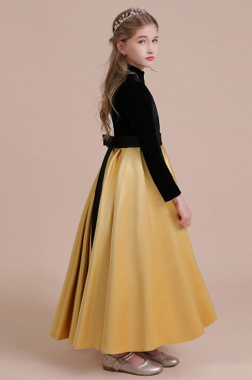 BMbridal A-Line High-neck Velvet Satin Flower Girl Dress Online_8
