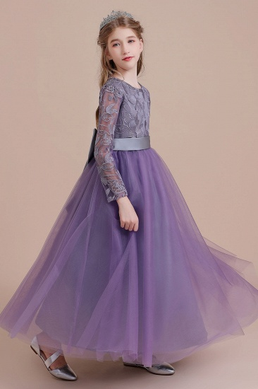 BMbridal A-Line Long Sleeve Ankle Length Flower Girl Dress On Sale_8