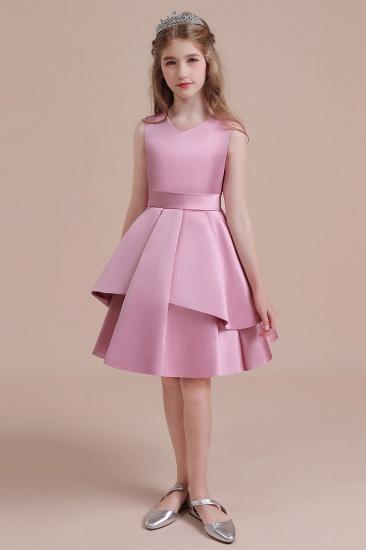 BMbridal A-Line Best Satin Knee Length Flower Girl Dress Online_1