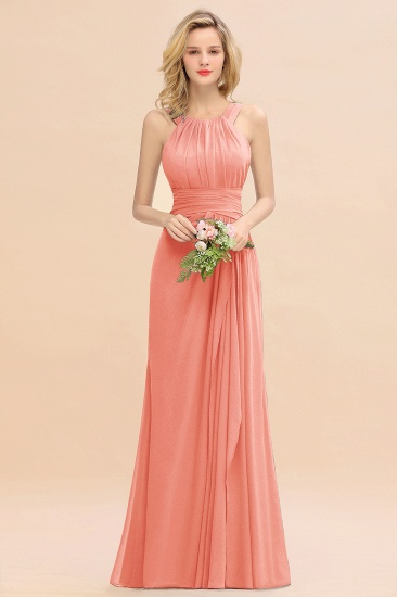 BMbridal Elegant Round Neck Sleeveless Stormy Bridesmaid Dress with Ruffles_45