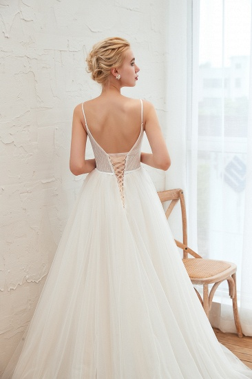 Chic Spaghetti Straps V-Neck Ivory Tulle Wedding Dresses with Appliques_12