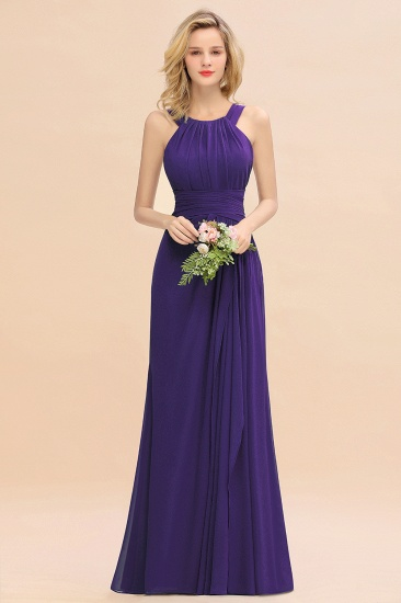 Elegant Round Neck Sleeveless Stormy Bridesmaid Dress with Ruffles_19
