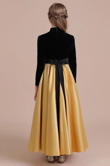 BMbridal A-Line High-neck Velvet Satin Flower Girl Dress Online_3