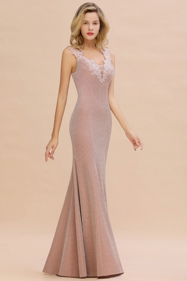 BMbridal Dusty Pink Shinning Long Prom Dress Mermaid With Appliques_9