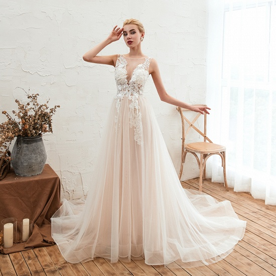 Unique Tulle V-Neck Ivory Affordable Wedding Dress with Appliques_6