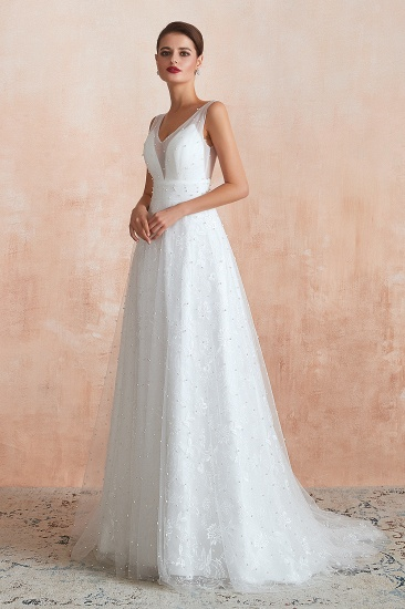 Fantastic V-Neck Sleeveless White Appliques Wedding Dress With Pearls_5