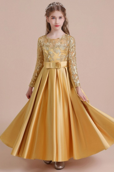 BMbridal A-Line Long Sleeve Satin Ankle Length Flower Girl Dress Online_1