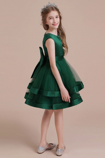 BMbridal A-Line Bow Satin Layered Tulle Flower Girl Dress Online_7