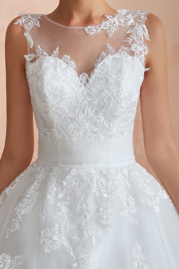 Affordable Sweetheart Sleeveless White Lace Wedding Dresses Online_11