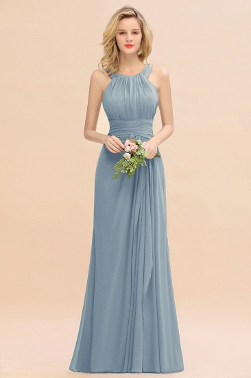 Elegant Round Neck Sleeveless Stormy Bridesmaid Dress with Ruffles_40