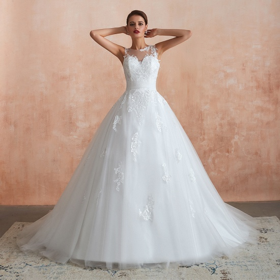 Affordable Sweetheart Sleeveless White Lace Wedding Dresses Online_7