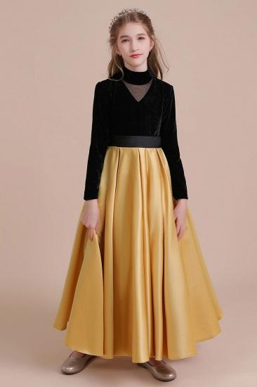 BMbridal A-Line High-neck Velvet Satin Flower Girl Dress Online_1