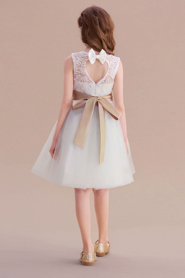 BMbridal A-Line Bow Tulle Lace Knee Length Flower Girl Dress Online_3