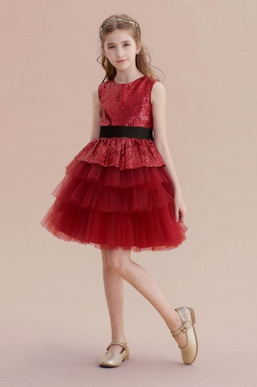 BMbridal A-Line Tulle Sequins Knee Length Flower Girl Dress Online_4