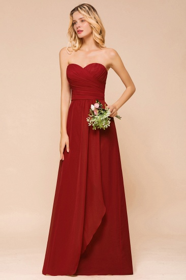 Gorgeous Sweetheart Strapless Rust Bridesmaid Dresses with Ruffle_5