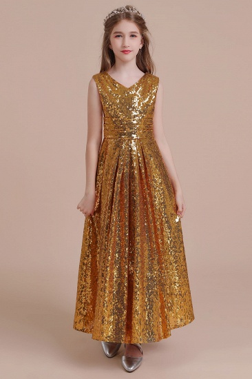 BMbridal A-Line Amazing Sequins V-neck Flower Girl Dress Online_1