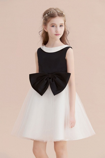 BMbridal A-Line Affordable Bow Tulle Flower Girl Dress On Sale_7