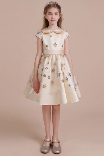 BMbridal A-Line Cap Sleeve Star Sequins Tulle Flower Girl Dress Online_2