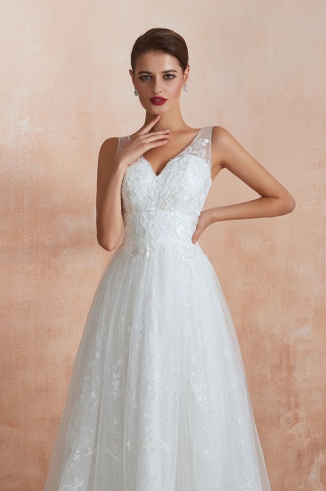 BMbridal Affordable V-Neck Tulle Lace Long White Wedding Dresses Online_10