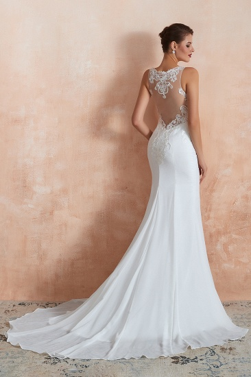 BMbridal Beautiful Mermaid V-Neck White Lace Wedding Dresses Affordable Online_7