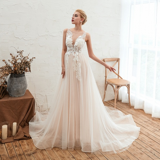 Unique Tulle V-Neck Ivory Affordable Wedding Dress with Appliques_8