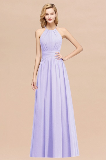 Elegant High-Neck Halter Long Affordable Bridesmaid Dresses with Ruffles_21