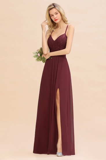 Elegant CrissCross Back Burgundy Lace Bridesmaid Dress With Spaghetti Straps_7
