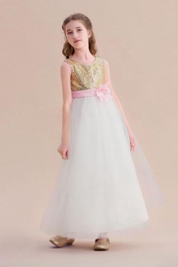 BMbridal A-Line Sequins Tulle High-waisted Flower Girl Dress On Sale_5