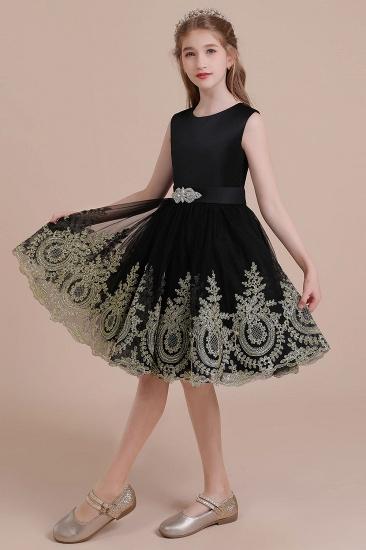 BMbridal A-Line Appliques Satin Tulle Flower Girl Dress Online_6